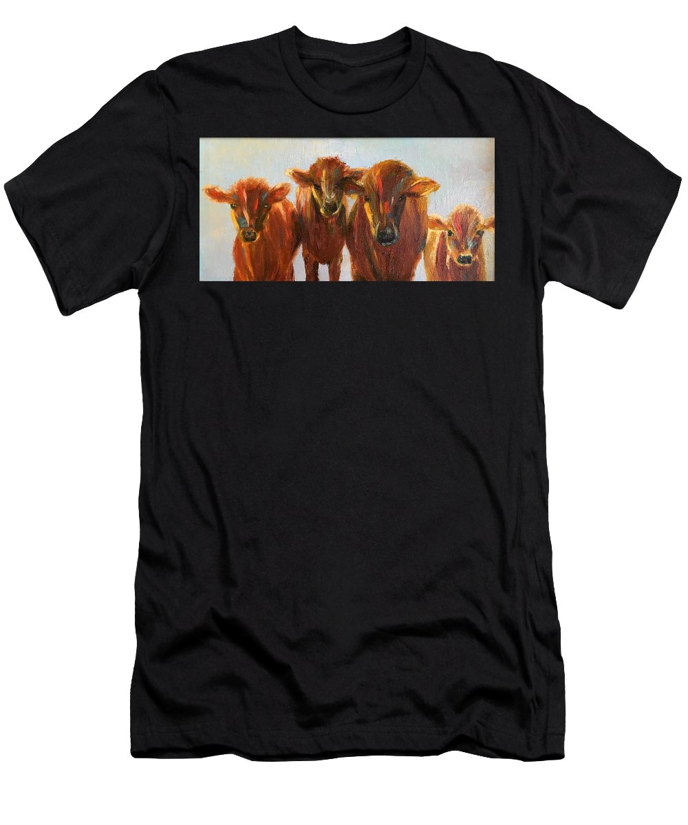 Cows Men's T-Shirt (Athletic Fit) featuring the painting Lined Up For Supper by Rosie Phillips