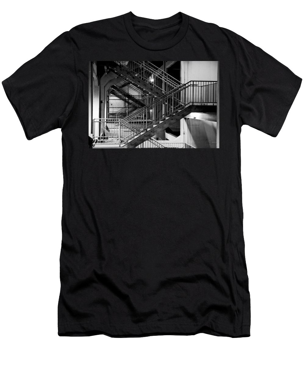 Stairs Men's T-Shirt (Athletic Fit) featuring the photograph Lines by Greg Fortier