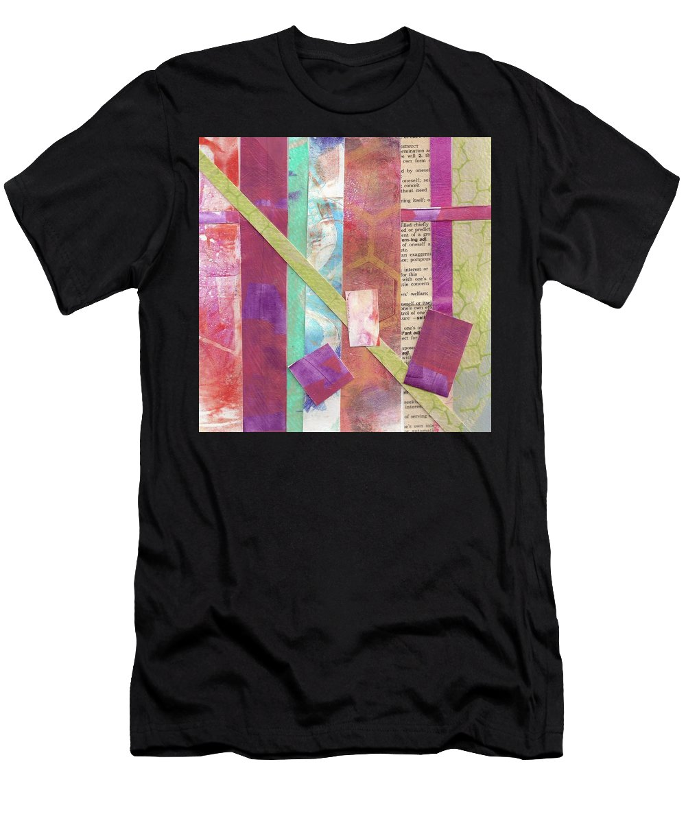 Abstract Men's T-Shirt (Athletic Fit) featuring the painting Lines On A Page by Cynthia Westbrook