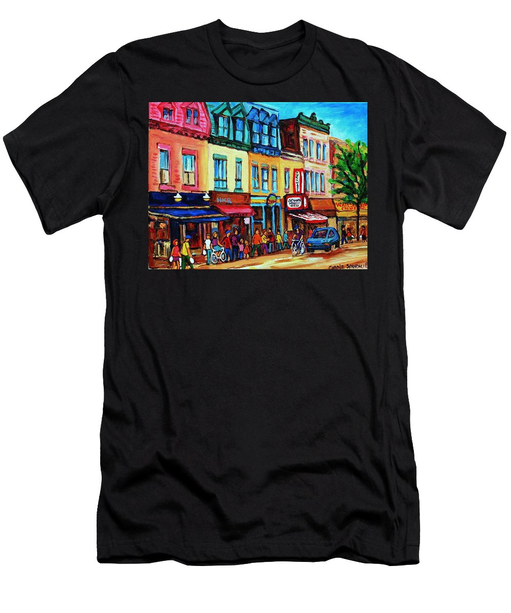 Cityscape Men's T-Shirt (Athletic Fit) featuring the painting Lineup For Smoked Meat Sandwiches by Carole Spandau