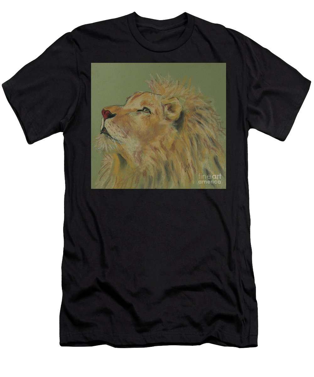 Lion Men's T-Shirt (Athletic Fit) featuring the drawing Lion Hearted by Cori Solomon