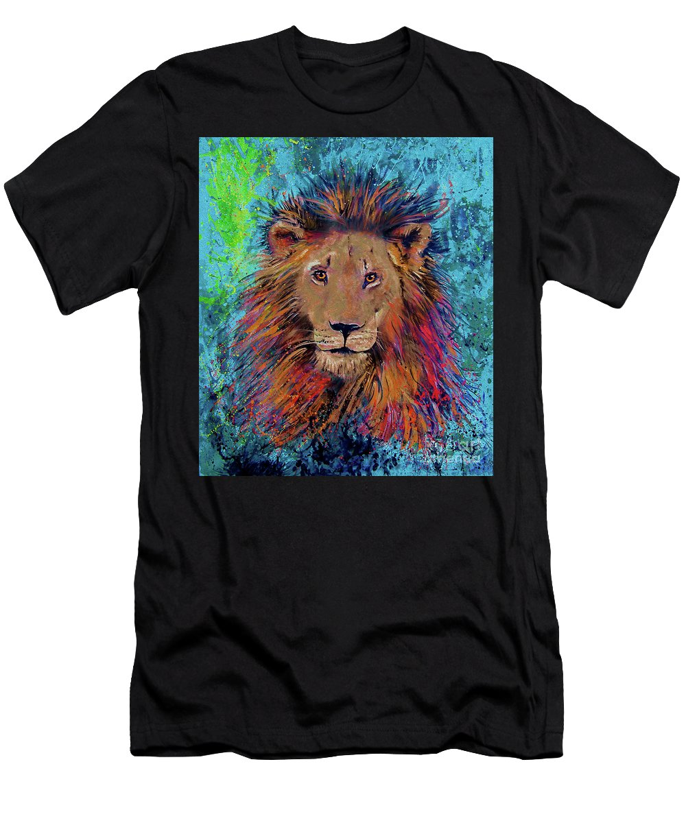 Lion Men's T-Shirt (Athletic Fit) featuring the painting Lion King by Gabriele Liedtke