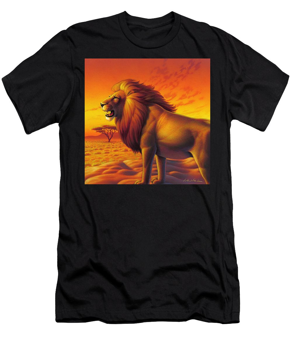 Lion King Men's T-Shirt (Athletic Fit) featuring the painting Lion King by Leland Klanderman