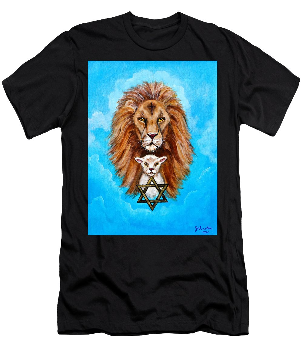 Adoni Men's T-Shirt (Athletic Fit) featuring the painting Lion Lies Down With A Lamb by Bob and Nadine Johnston