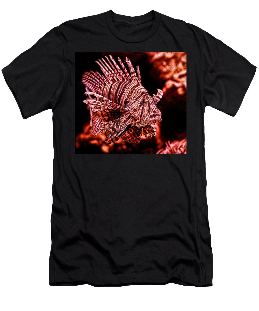 Ion Fish Of The Sea Painting Men's T-Shirt (Athletic Fit) featuring the digital art Lionfish Of The Sea by Lucky Chen