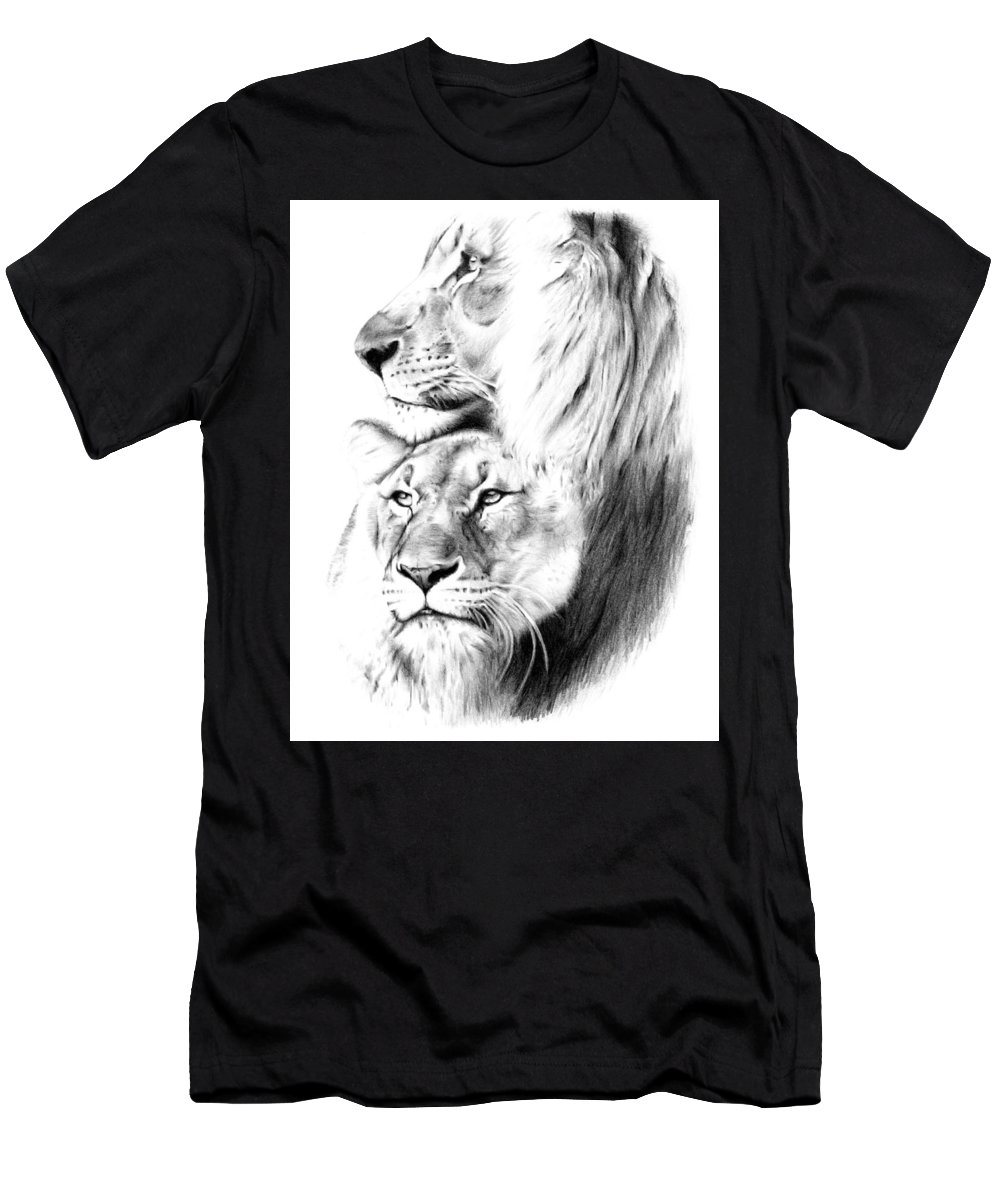 Lion Men's T-Shirt (Athletic Fit) featuring the drawing Lions by Mike Bruce