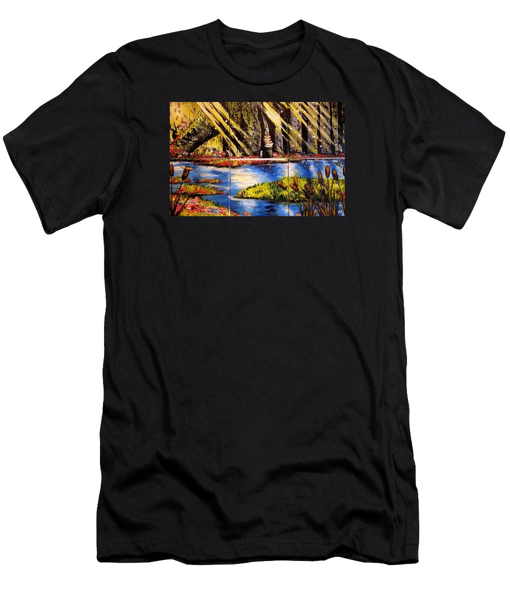 Landscape T-Shirt featuring the painting Lisas Neck Of The Woods by Alexandria Weaselwise Busen