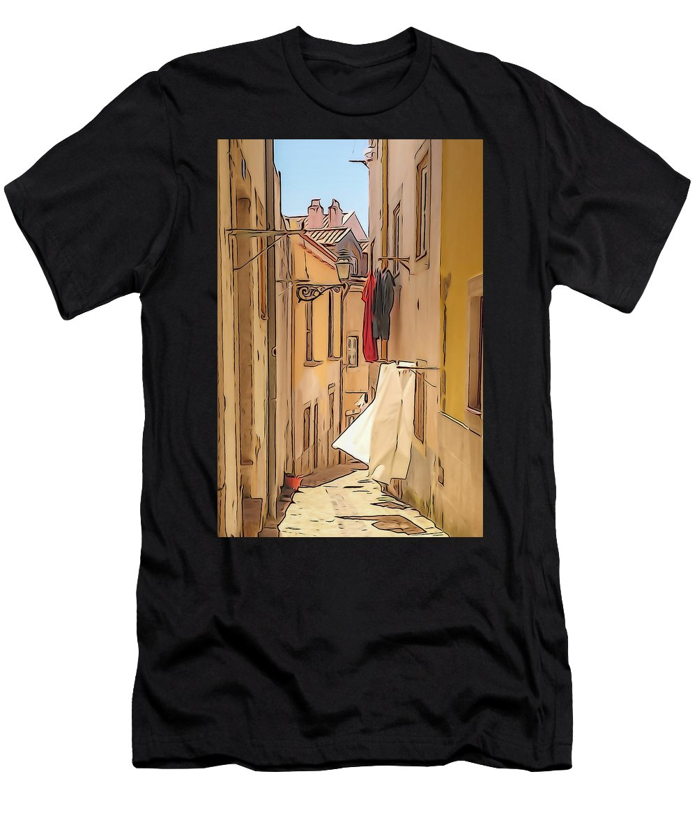 Lisbon Men's T-Shirt (Athletic Fit) featuring the photograph Lisbon Street #2 by Tom and Pat Cory