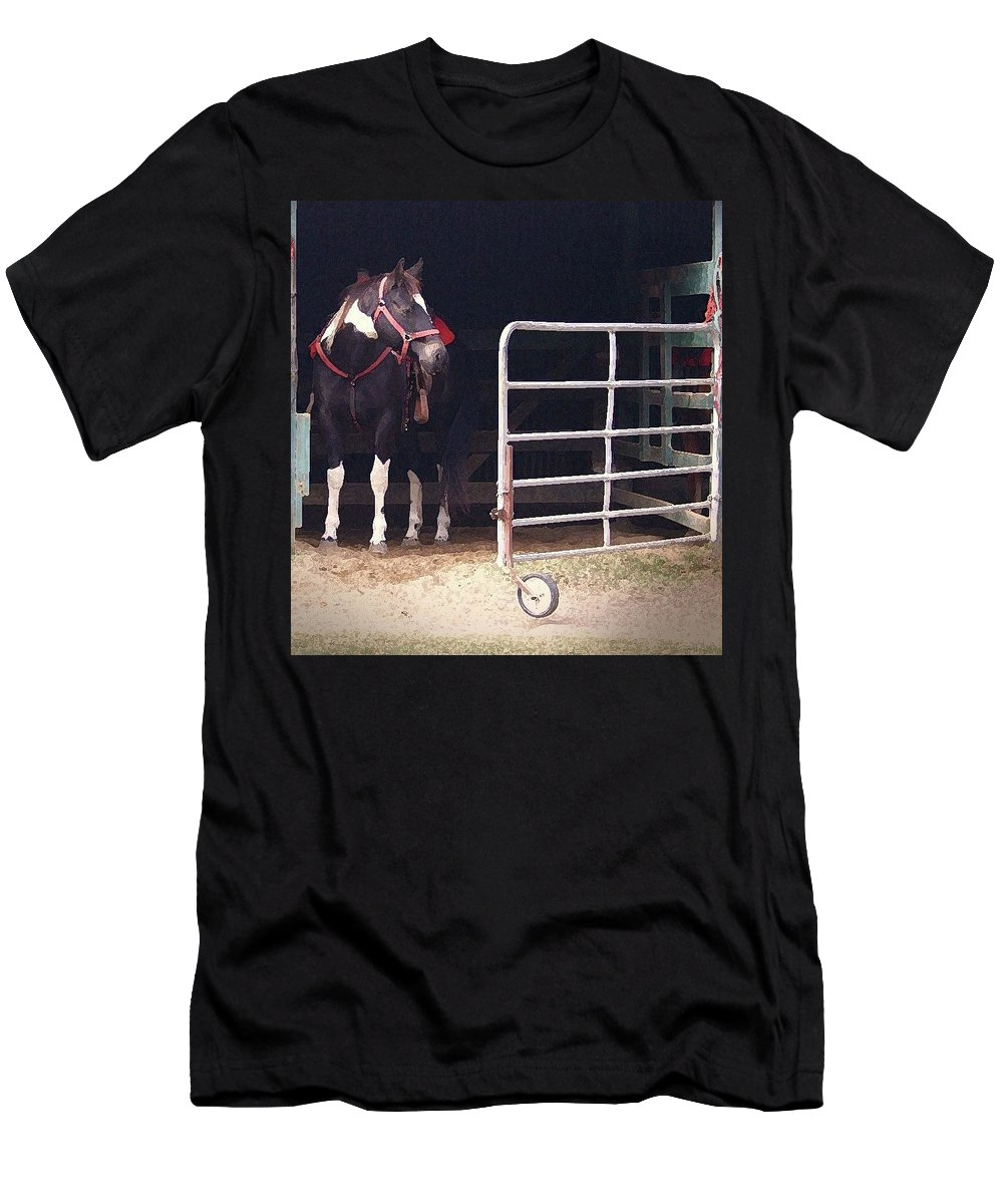 Horse Men's T-Shirt (Athletic Fit) featuring the digital art Listening For My Turn by Kim Henderson