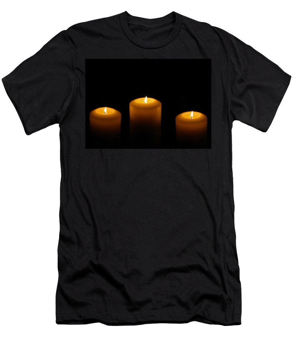 Candle Men's T-Shirt (Athletic Fit) featuring the photograph Lit by Angela Rath