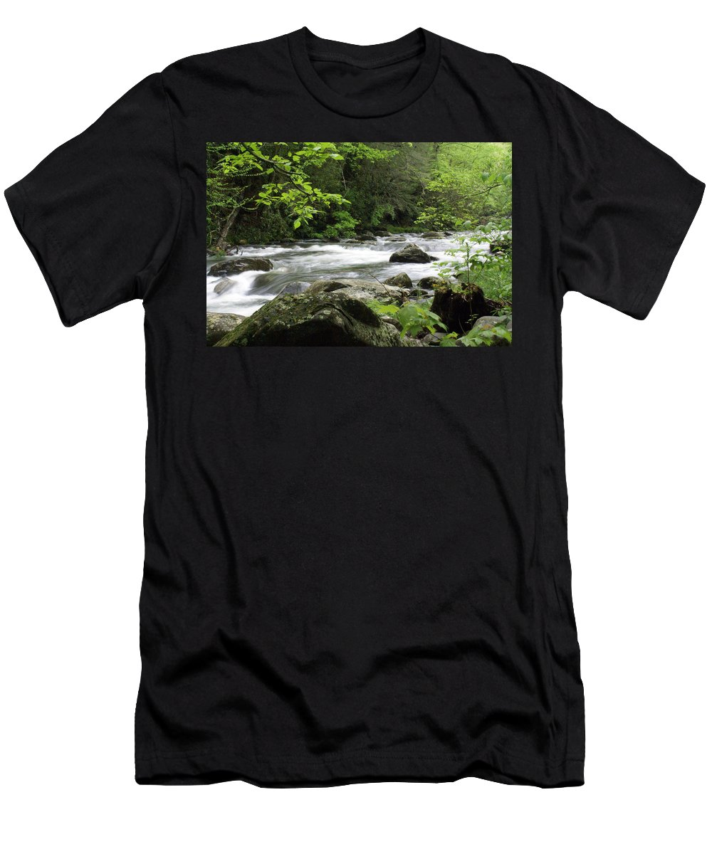 River Men's T-Shirt (Athletic Fit) featuring the photograph Litltle River 1 by Marty Koch