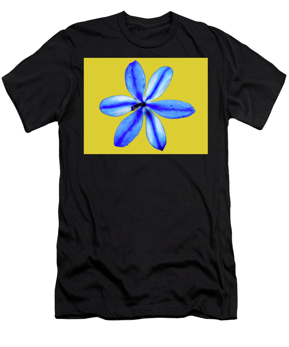 Blue Men's T-Shirt (Athletic Fit) featuring the painting Little Blue Flower On A Yellow Background by Trevor McMullan