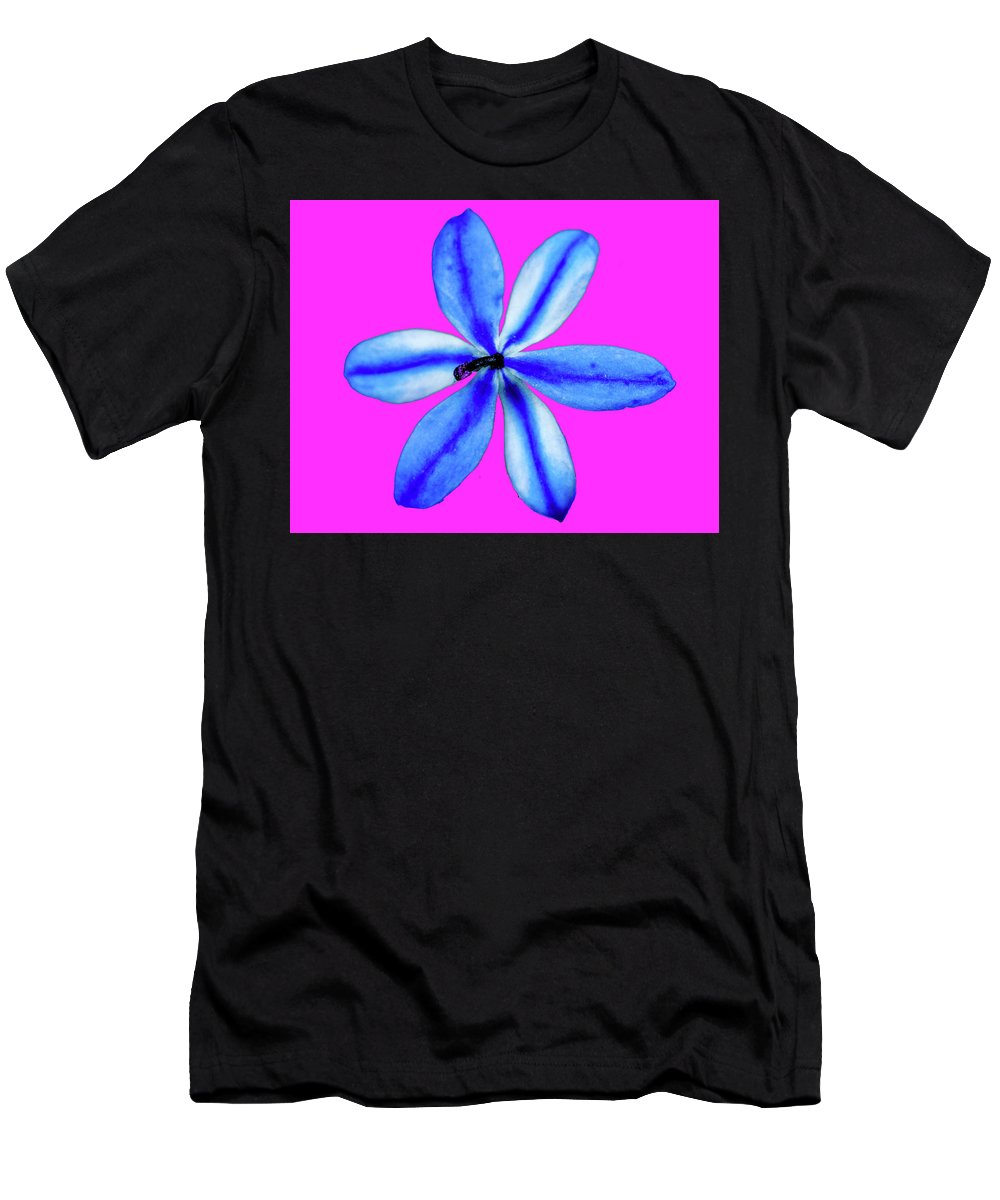 Blue Men's T-Shirt (Athletic Fit) featuring the photograph Little Blue Flower On Dark Pink by Trevor McMullan