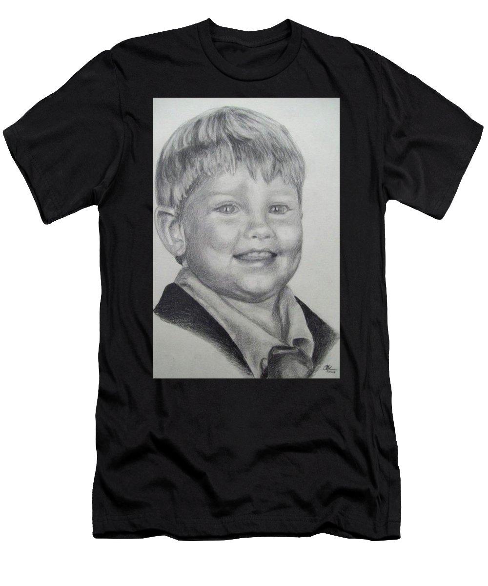 Portrait Men's T-Shirt (Athletic Fit) featuring the drawing Little Boy Portrait by Christopher Denham