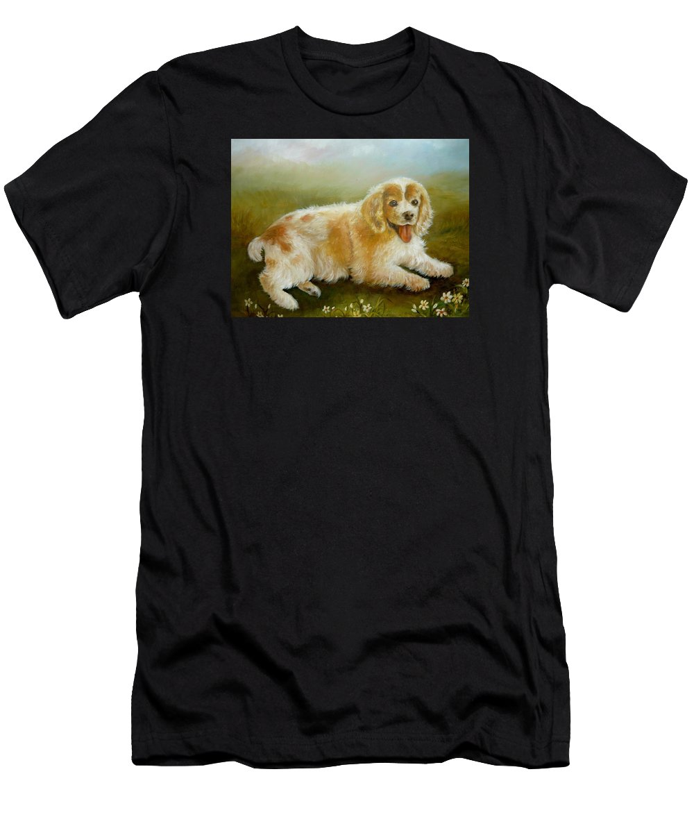 Spaniel Portrait Men's T-Shirt (Athletic Fit) featuring the painting Little Cookie by Holly Way