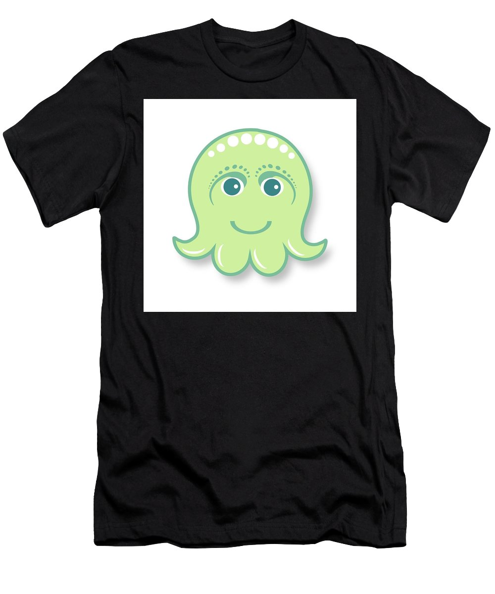 Little Octopus Men's T-Shirt (Athletic Fit) featuring the digital art Little Cute Green Octopus by Ainnion