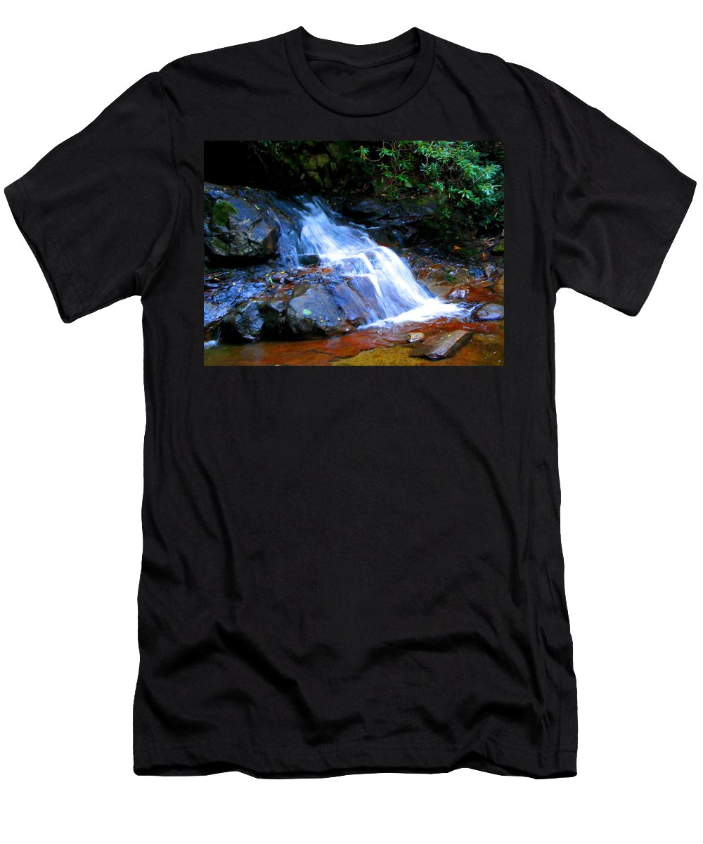 Waterfall Men's T-Shirt (Athletic Fit) featuring the photograph Little Fall by April Patterson