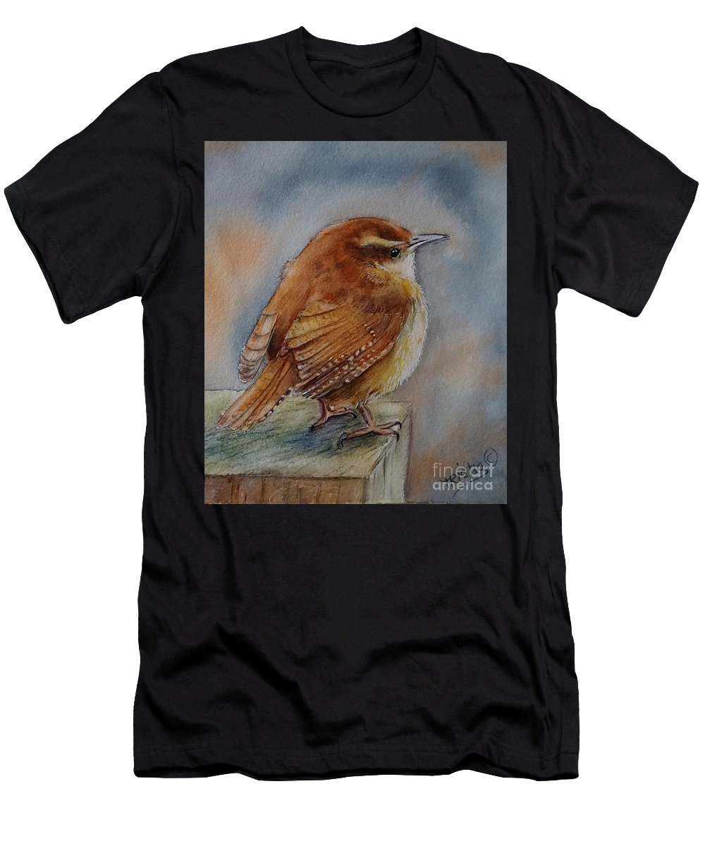 Wren Bird Men's T-Shirt (Athletic Fit) featuring the painting Little Friend by Patricia Pushaw