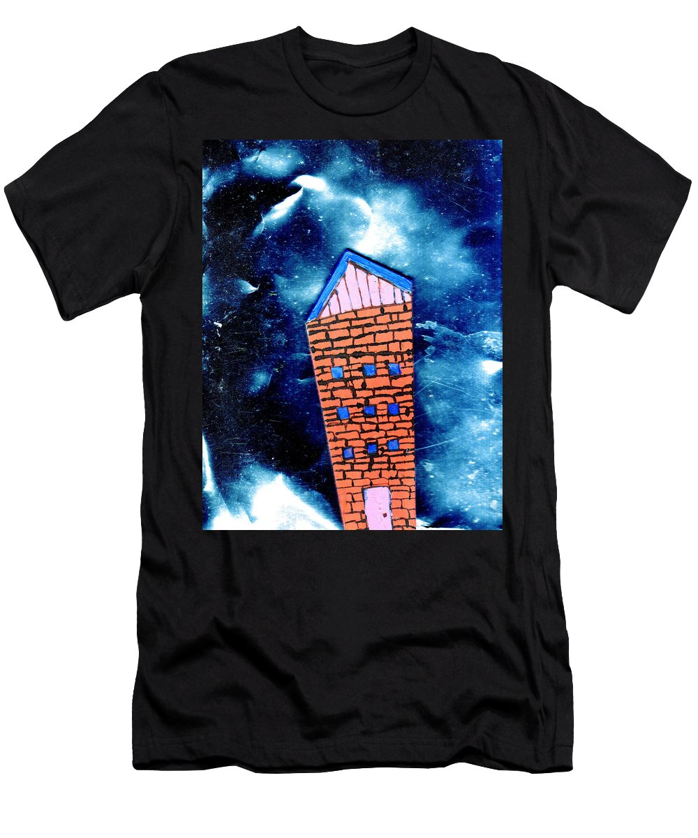 Mixed Media Men's T-Shirt (Athletic Fit) featuring the painting Little House In The Cosmos by Wayne Potrafka