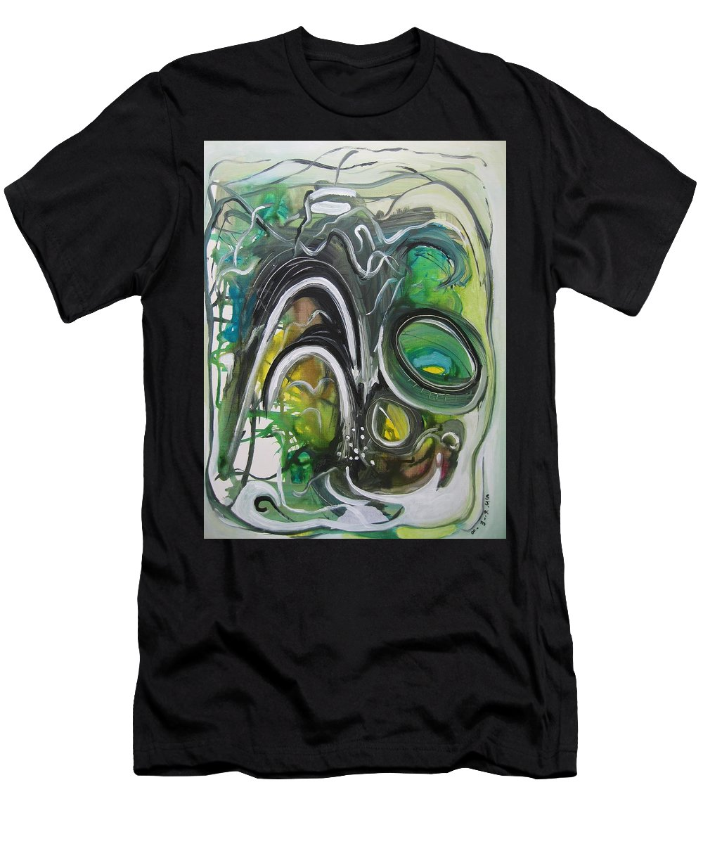 Abstract Paintings Men's T-Shirt (Athletic Fit) featuring the painting little impression on Alexander trail by Seon-Jeong Kim