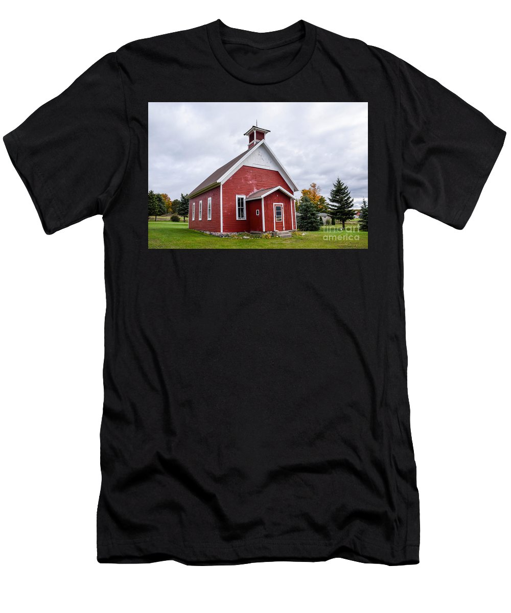 Schoolhouse Men's T-Shirt (Athletic Fit) featuring the photograph Little Red Schoolhouse by Grace Grogan