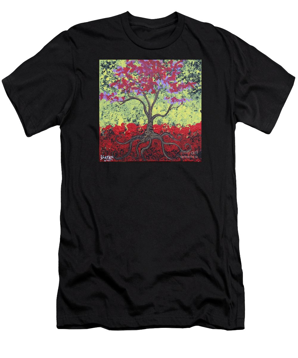Impressionism Men's T-Shirt (Athletic Fit) featuring the painting Little Red Tree by Stefan Duncan