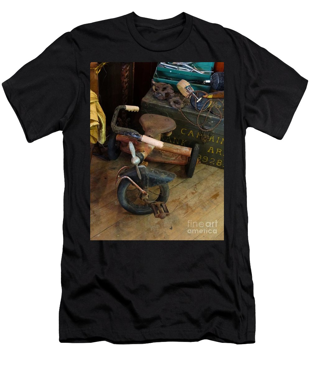 Tricycle Men's T-Shirt (Athletic Fit) featuring the photograph Little Trike Many Miles by Teresa Hayes