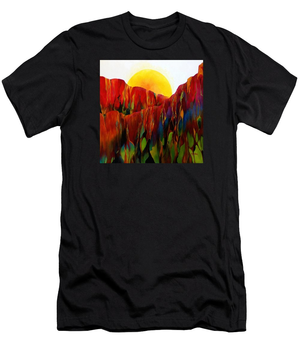 Oil Men's T-Shirt (Athletic Fit) featuring the painting Living Earth by Peggy Guichu