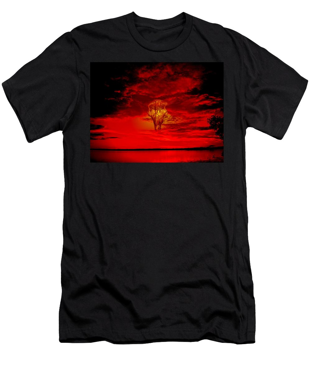 Skull Sky Red Dawn Buffalo Clouds Cloudy Nature Bison Water Skyline Waterscape Men's T-Shirt (Athletic Fit) featuring the photograph Living Sky by Andrea Lawrence