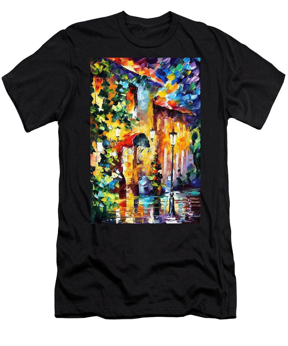 Afremov Men's T-Shirt (Athletic Fit) featuring the painting Living Town by Leonid Afremov