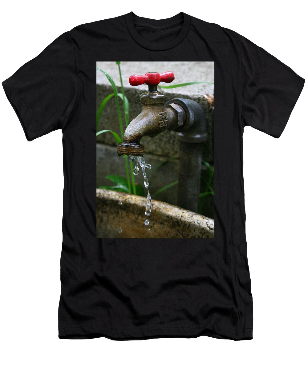 Water Faucet Valve Nature Garden Drop Dripping Red Wet Life Grow Nourish Rural Country Men's T-Shirt (Athletic Fit) featuring the photograph Living Water by Andrei Shliakhau