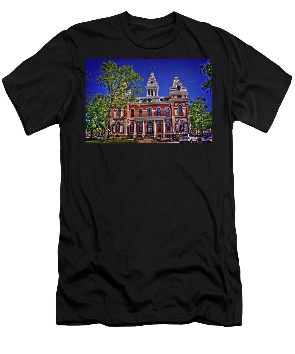 Pontiac Men's T-Shirt (Athletic Fit) featuring the photograph Livingston County Courthouse 1 by Fred Hahn