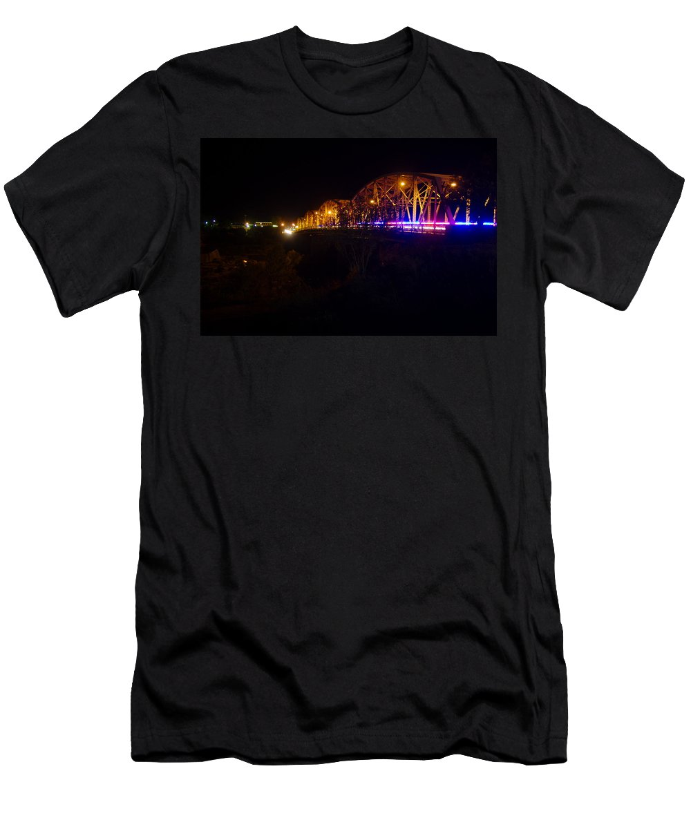James Smullins Men's T-Shirt (Athletic Fit) featuring the photograph Llano Bridge At Night by James Smullins