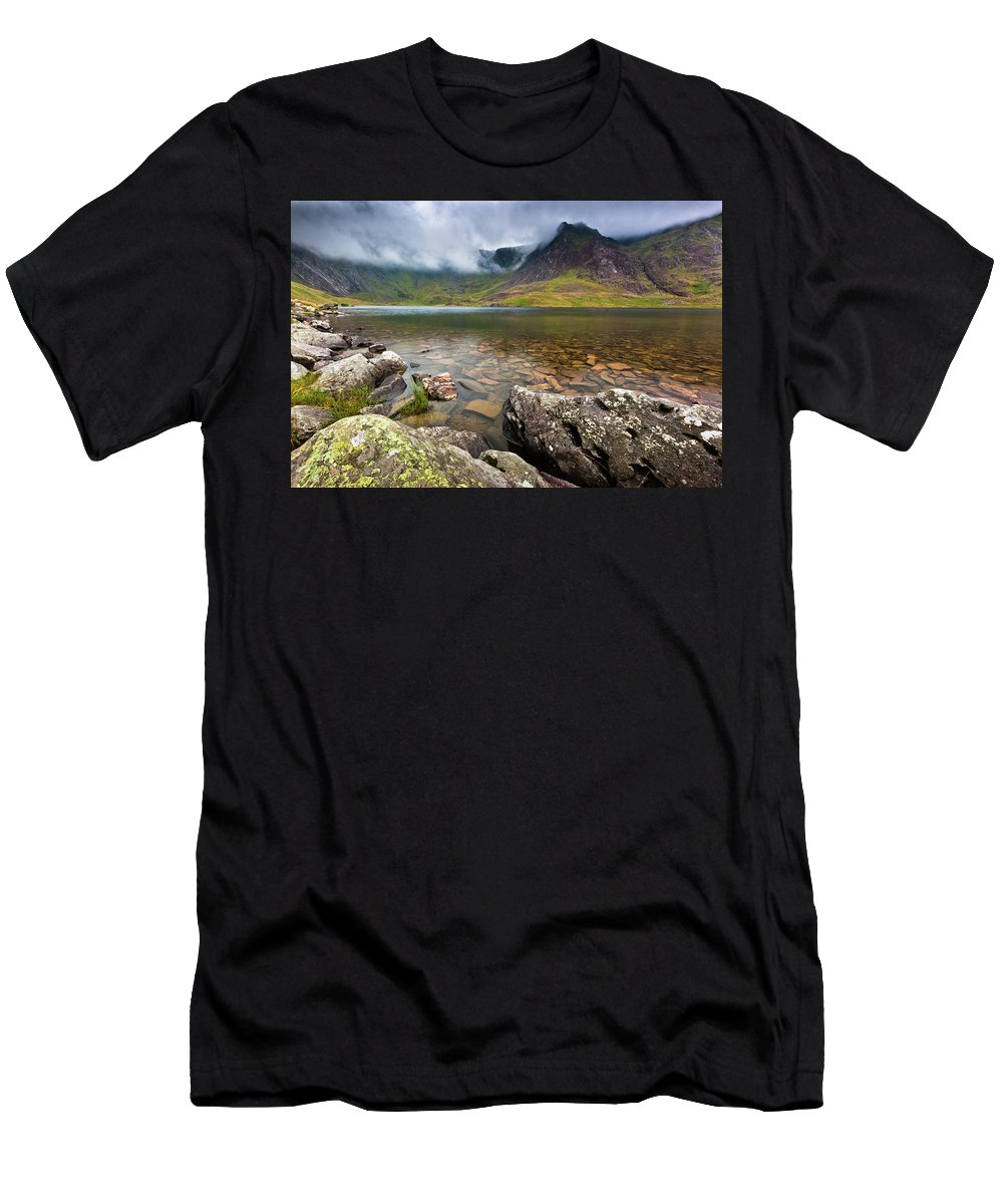 Men's T-Shirt (Athletic Fit) featuring the photograph Llyn Idwal #1, Cwm Idwal, Snowdonia, North Wales by Anthony Lawlor