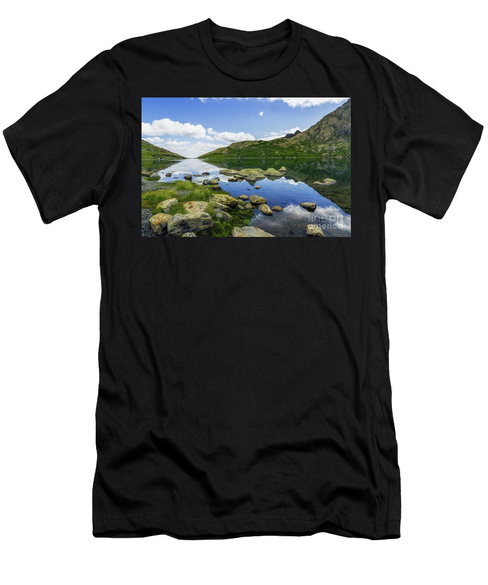 Lake Men's T-Shirt (Athletic Fit) featuring the photograph Llyn Lydaw by Ian Mitchell