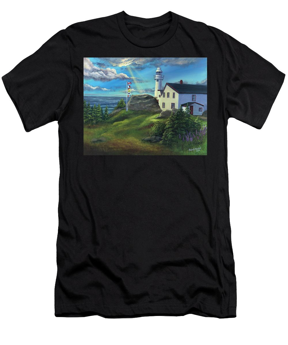 Lobster Cove Head Lighthouse Men's T-Shirt (Athletic Fit) featuring the painting Lobster Cove Head Lighthouse, Rocky Harbour, Nl by Kimberly Ropson
