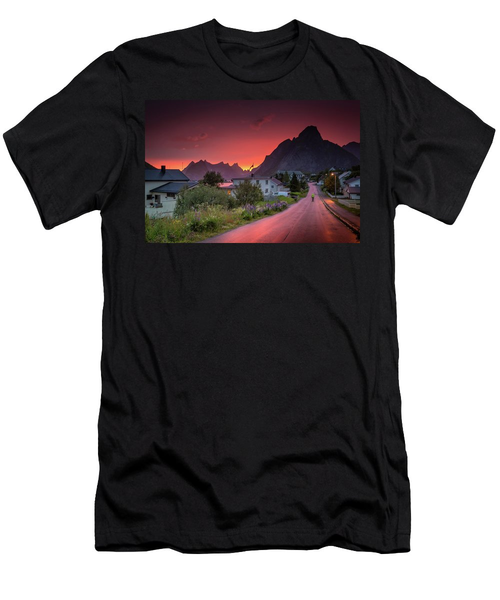 Midnight Sun Men's T-Shirt (Athletic Fit) featuring the photograph Lofoten Nightlife by Alex Conu