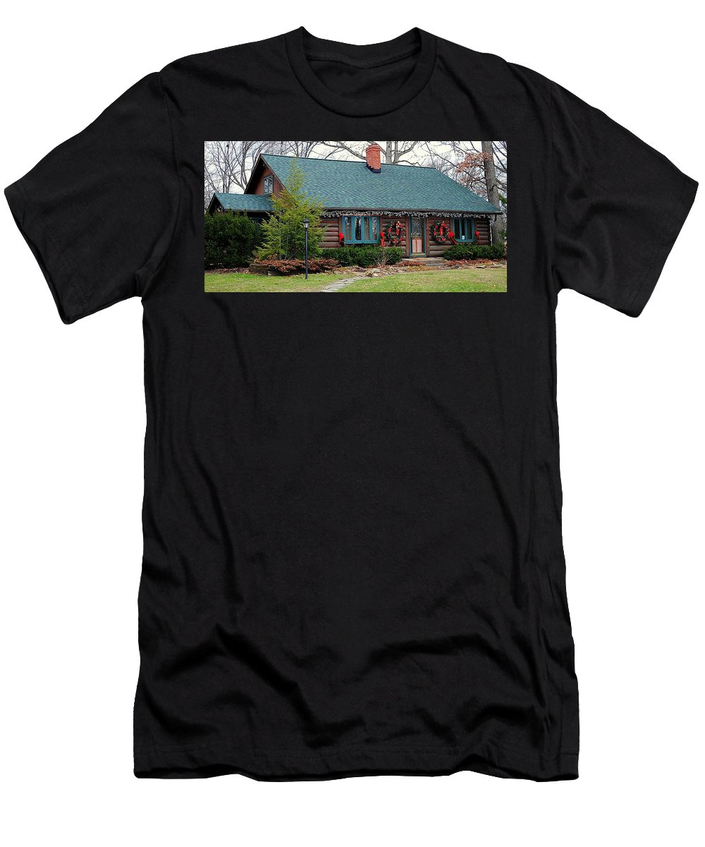 Home Men's T-Shirt (Athletic Fit) featuring the photograph Log Cabin by Frozen in Time Fine Art Photography