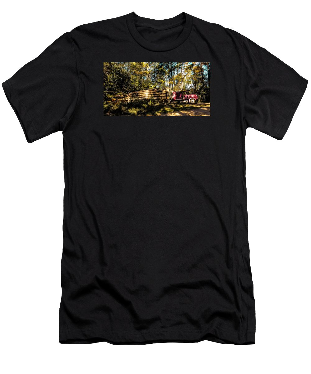 Woods T-Shirt featuring the photograph Log Truck by Leon Hollins III