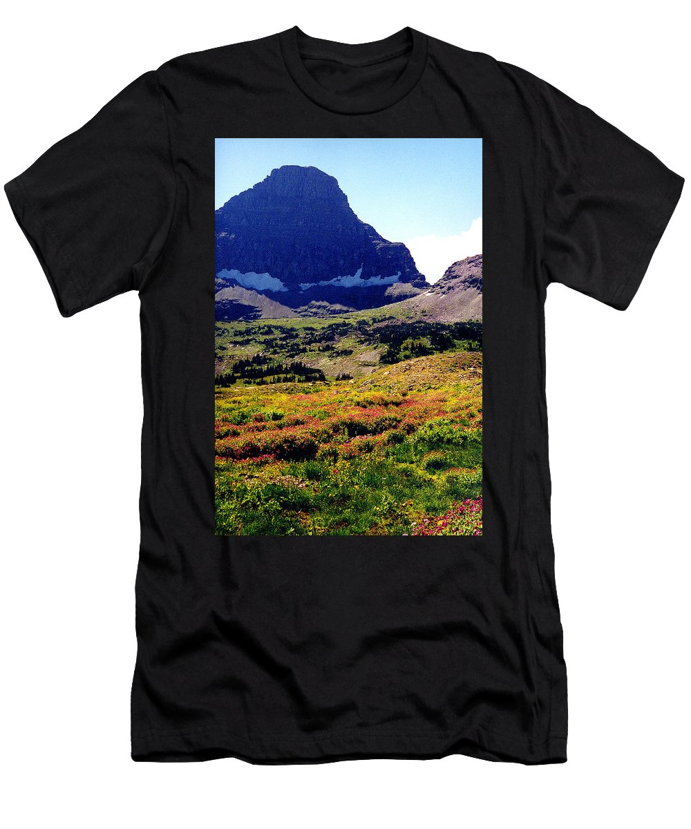Glacier National Park Men's T-Shirt (Athletic Fit) featuring the photograph Logans Pass In Glacier National Park by Nancy Mueller