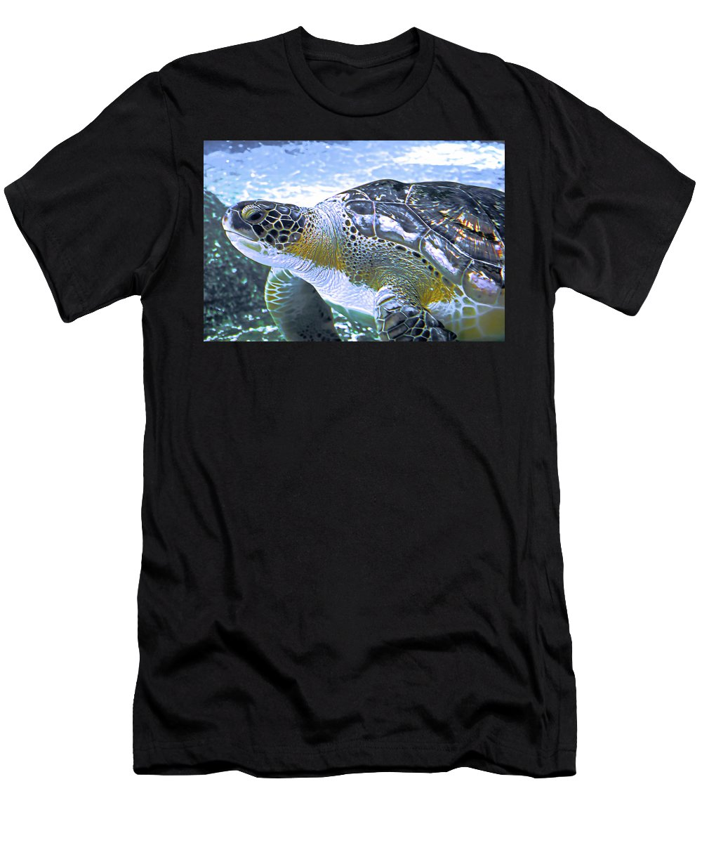 Turtle Men's T-Shirt (Athletic Fit) featuring the photograph Loggerhead Turtle by Alison Belsan