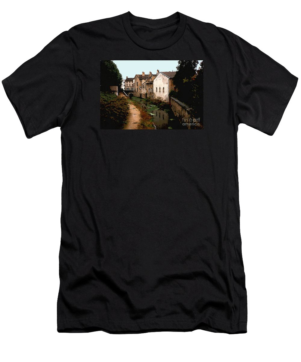 France Men's T-Shirt (Athletic Fit) featuring the photograph Loire Valley Village Scene by Nancy Mueller
