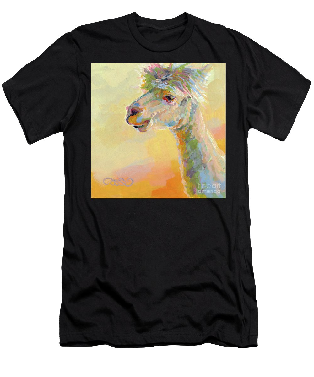 Llama Men's T-Shirt (Athletic Fit) featuring the painting Lolly Llama by Kimberly Santini