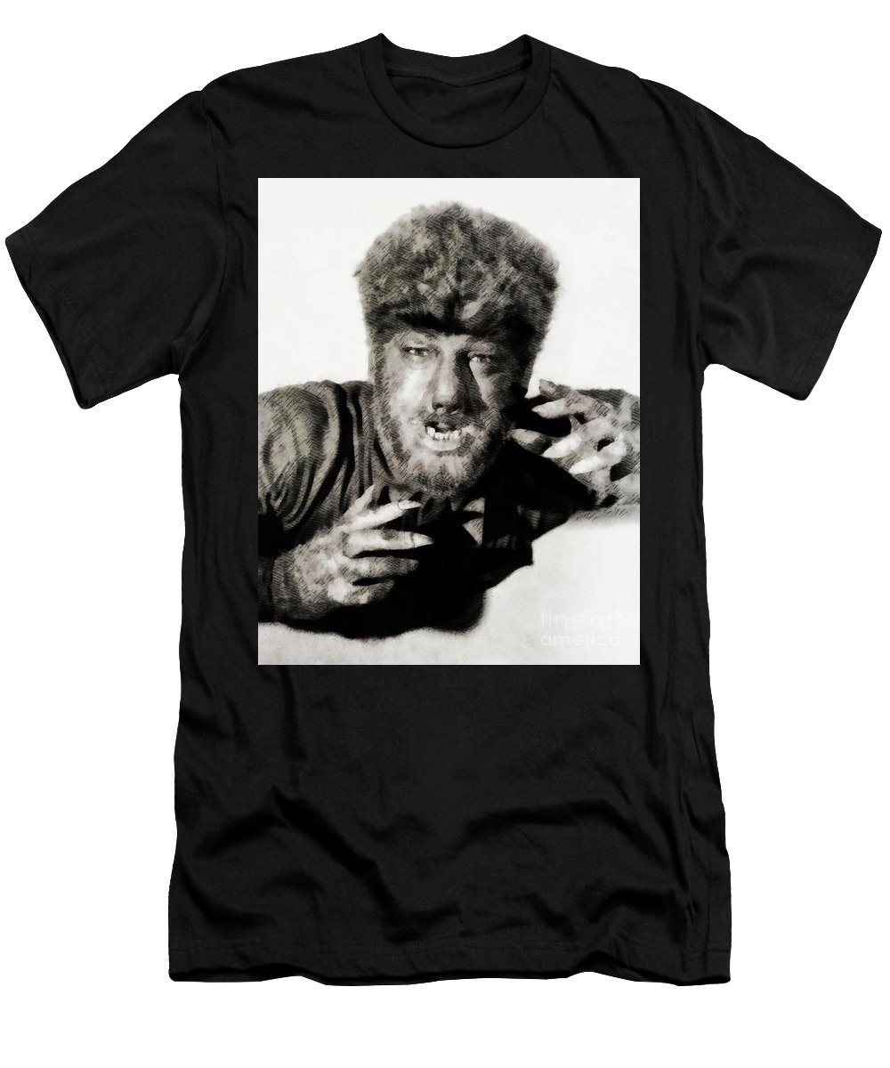 Lon Men's T-Shirt (Athletic Fit) featuring the painting Lon Chaney, Jr. As Wolfman by John Springfield
