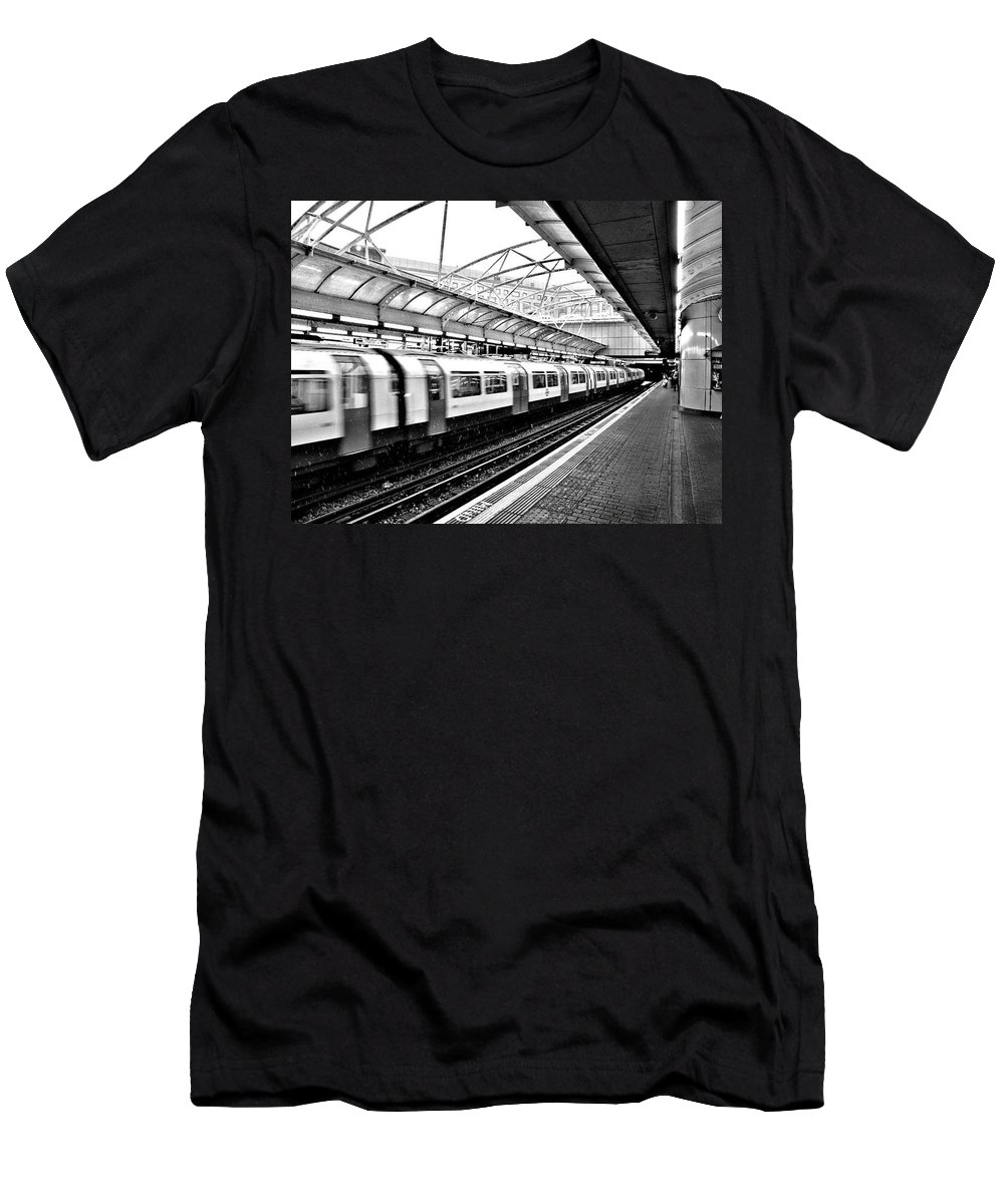 Trains Men's T-Shirt (Athletic Fit) featuring the photograph London by Keri Butcher