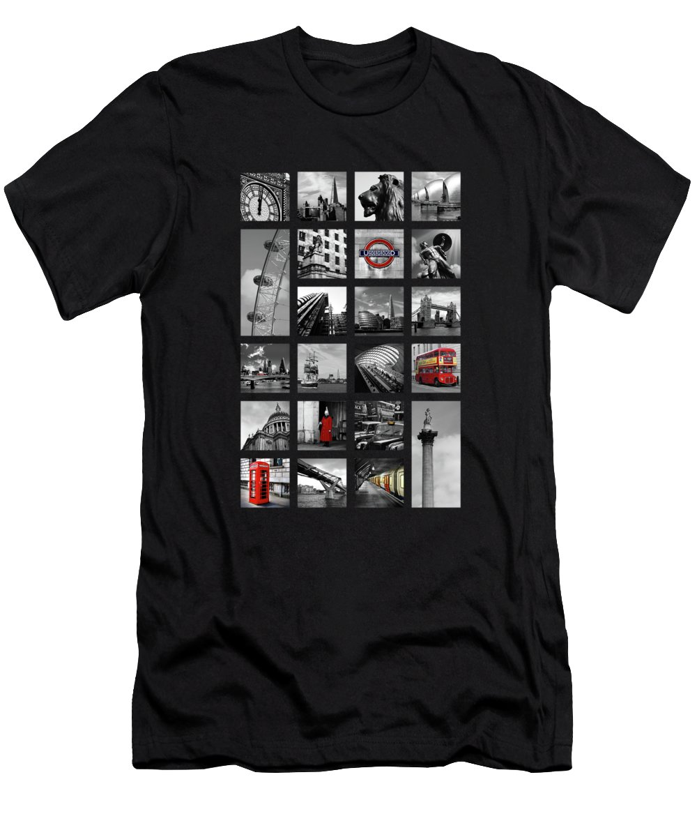 Tower Bridge Men's T-Shirt (Athletic Fit) featuring the photograph London Squares by Mark Rogan