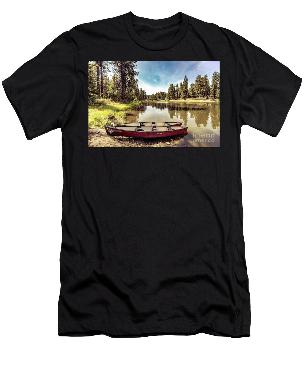 Men's T-Shirt (Athletic Fit) featuring the photograph Lone Canoes, Winchester Lake by Marcia Darby