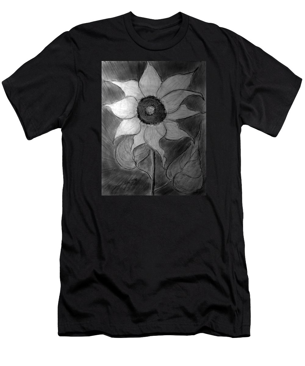 Lone Sunflower Iv Men's T-Shirt (Athletic Fit) featuring the drawing Lone Sunflower Iv by Jose A Gonzalez Jr