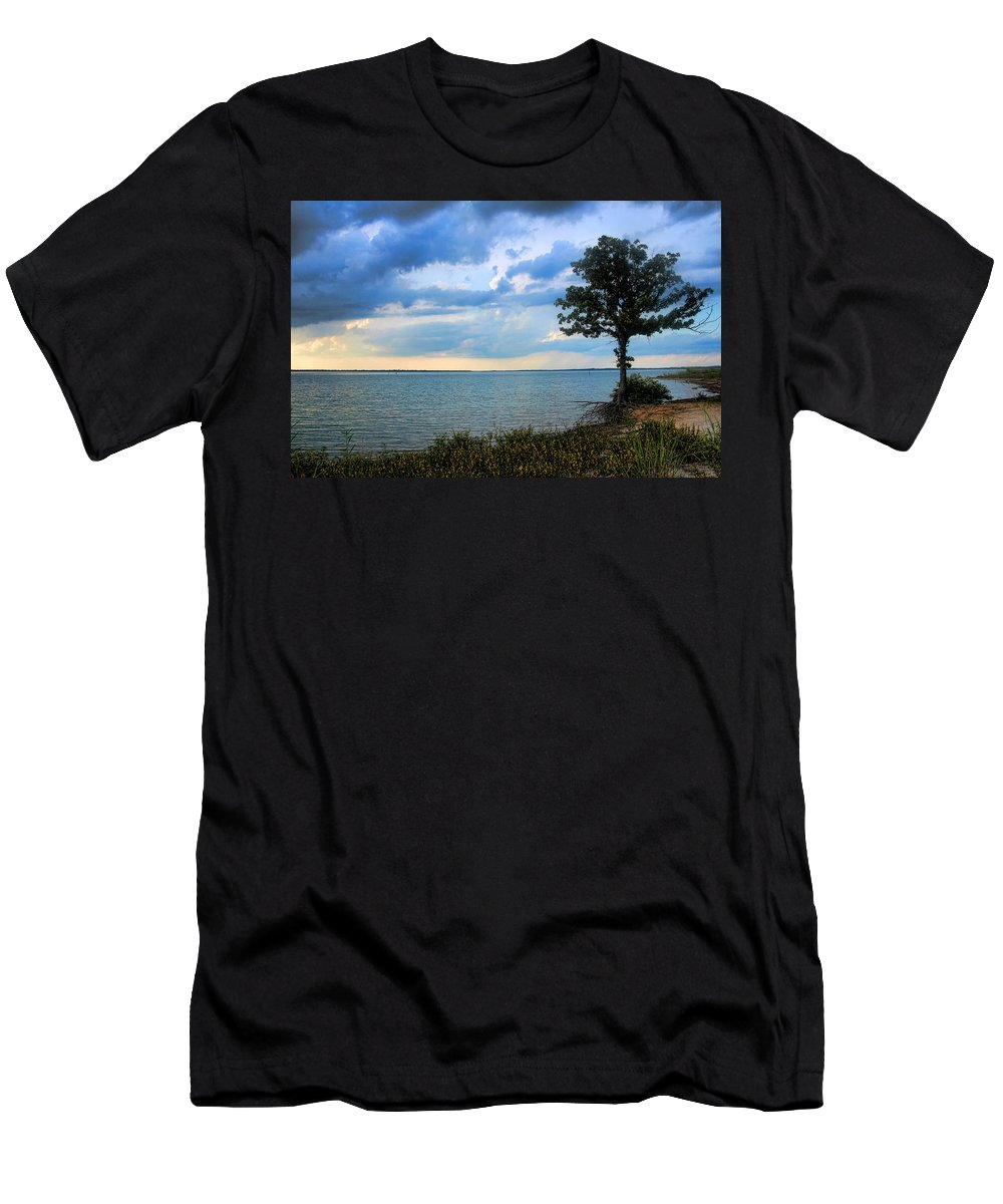 Tree Men's T-Shirt (Athletic Fit) featuring the photograph Lone Tree And Beach Flowers by Carolyn Fletcher