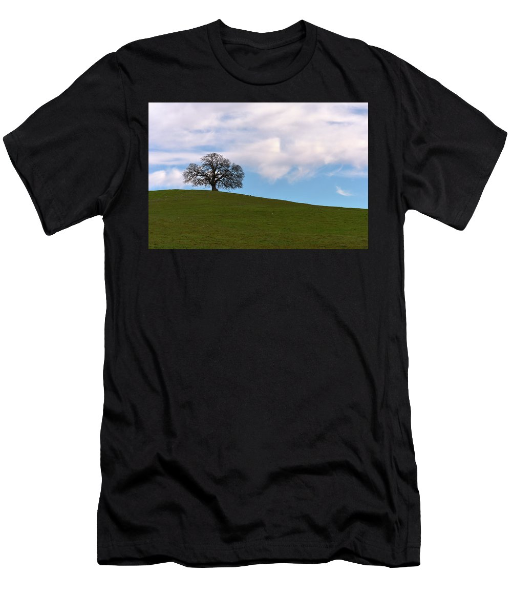 Oak Men's T-Shirt (Athletic Fit) featuring the photograph Lone Tree by Michael Allred